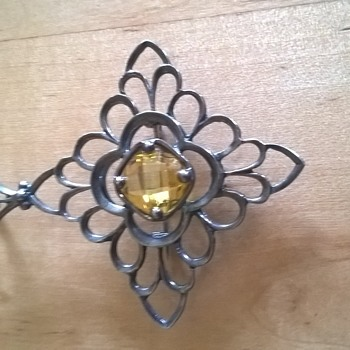 Sterling Brooch Pendant w/ C clasp - yellow stone
