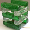 Green and clear stacked glass lamp