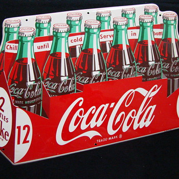 12 Pack Cocal Cola Die Cut Tin Sign 1954 - Coca-Cola