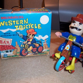 """Vintage Wind Up """"Western Tricycle"""" Toy - Toys"""