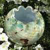 Victorian cased spatter glass rose bowl with silver spangled swirls