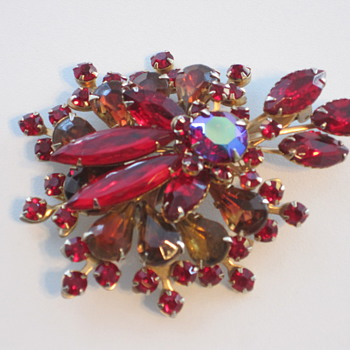 Large Red Rhinestone Brooch with Cut-back on reverse - date??  - Costume Jewelry