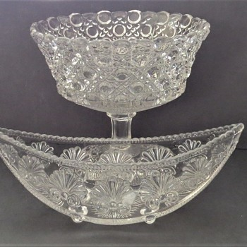 George Davidson Glass - Boat shaped Bowl and Hobnail Footed Bowl - Glassware