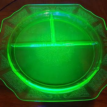 Uranium Glass Grill Plate - Glassware