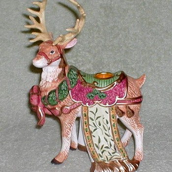 Reindeer Porcelain Figurine Candle Holders - Christmas