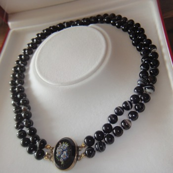 Victorian Knotted Banded Agate bead necklace with Micro Mosaic clasp.