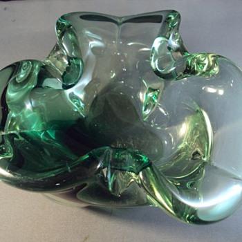 Murano thick green glass ashtray - Art Glass