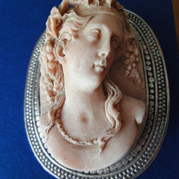 False full body antique Victorian carved Pompeii Lava Mount Vesuvius Cameo - Fine Jewelry