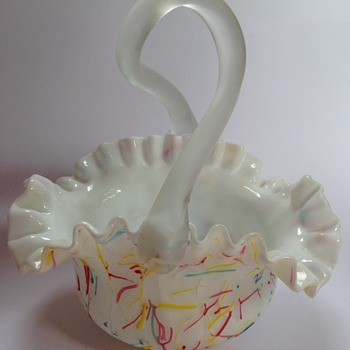 Victorian Peloton satin glass basket with looped handle - Art Glass