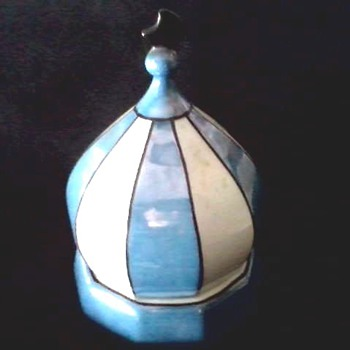 Blue Luster Ware Onion Dome Powder-Dresser Box / Schoenau Bros. Germany /Circa 20th Century  - China and Dinnerware