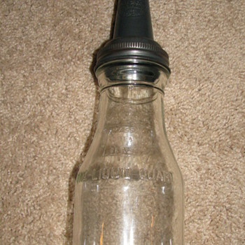 Vintage Glass Oil Bottle with metal Spout