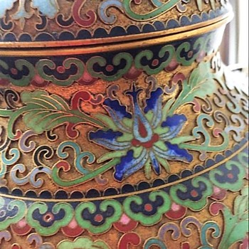 Post 1950 cloisonné lotus jar - Asian