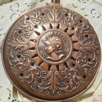 19th Century Copper Bed Warmer Antique Medallion French Villedieu Marks - Folk Art
