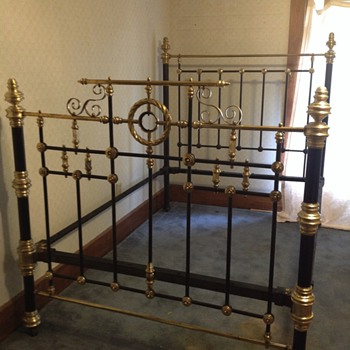 Antique Iron and Brass 3/4 Bed - Furniture