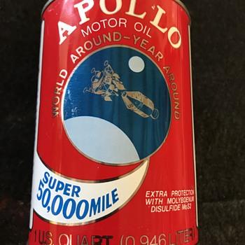 Apollo motor oil can . Remember Apollo 11 first man on the moon  - Petroliana