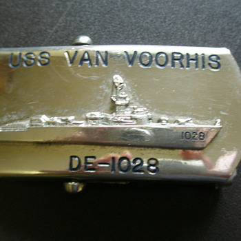 US Navy Belt Buckle USS Van Voorhis - Military and Wartime
