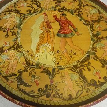 PAINTED WOOD WALL  PLATE - Folk Art