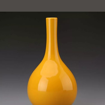 Chinese monochrome imperial yellow vase - Asian