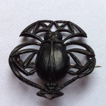 Blackened steel Jugendstil beetle brooch.