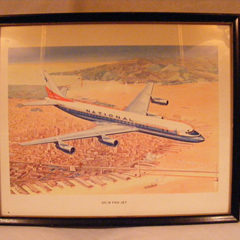 National Airlines DC-8 Fan Jet Original Framed Print (c.1959)