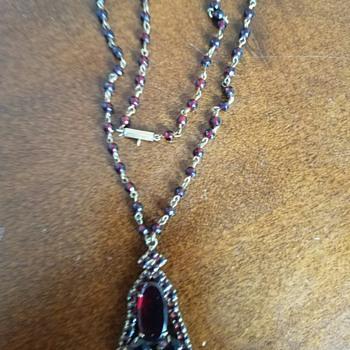 Vintage Garnet Drop Pendant necklace - Czech?