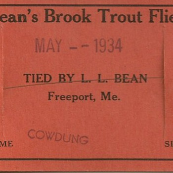 1934 LL Bean vintage hand tied fly Beans Brook Trout #10 Cowdung