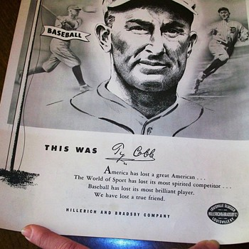 Original Vintage 1961 Ty Cobb Hillerich & Bradsby Louisville Slugger Memorial Poster - Baseball