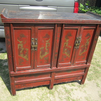 antique Chinese red buffet sideboard cabinet? - Furniture