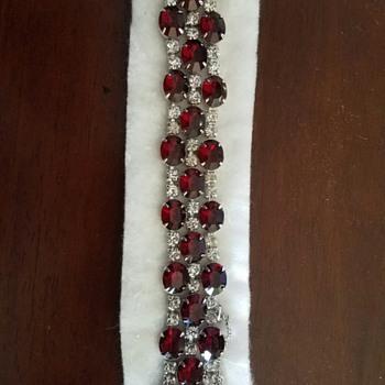 Sparkling Red Glass studded with White Rhinestones Hattie Carnegie Bracelet