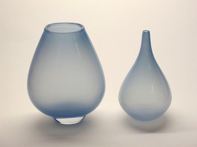 Rare Light Blue Gunnar Nylund Vases Strombergshyttan Mid 1950s