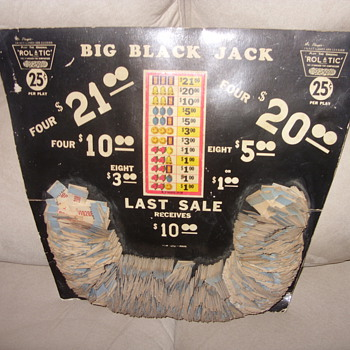 old big black jack gaming pull tab board