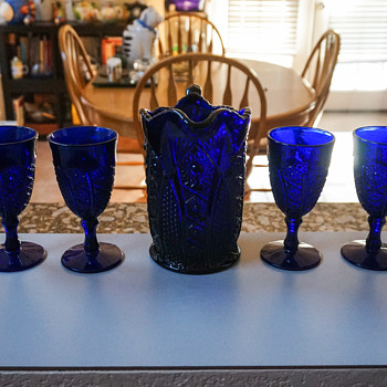 Vintage Blue Glass Pitcher with Goblets - Glassware