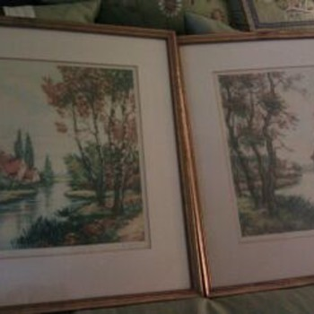 Pair of Colored Etchings