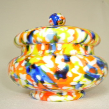 Czech Art Deco Lidded Bowl - Art Glass