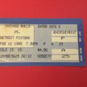 "Michael Jordan Rookie Year Ticket Stub Feb 12 1985 ""Freeze Out Game"" vs Detroit Pistons. 49 points 15 rebounds - Basketball"