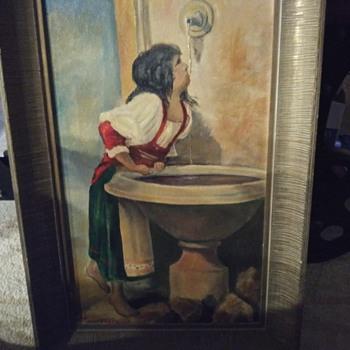 Roman Girl at Fountain Painting - Fine Art