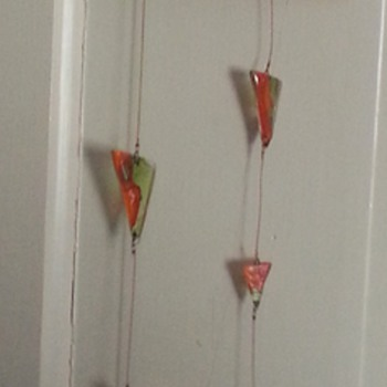 Orange and Green Glass Triangles hanging mobile - Art Glass