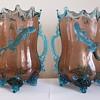 Harrach ? Uranium Glass Pair of Lizard Vases