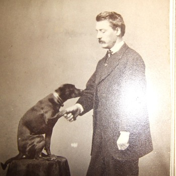 CDV of man with well trained dog - Photographs
