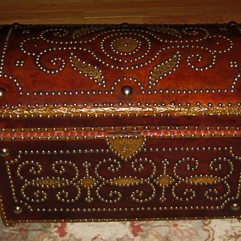 Ornate Leather Covered Trunk - Furniture