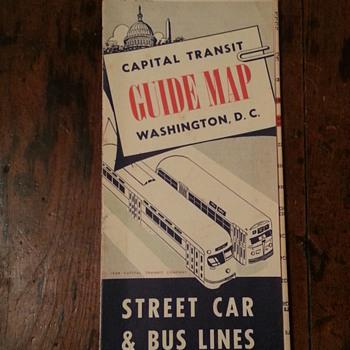 Washington D.C. Guide Map Street Car & Bus Lines 1949