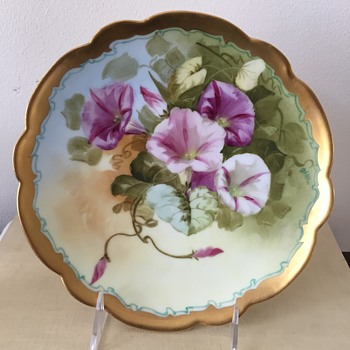 Pickard Plate - Morning Glories in Pink - China and Dinnerware