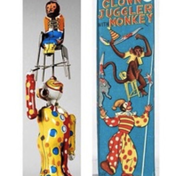 1955 rare Japanese juggler and clown mechanical toy - Asian