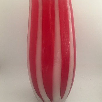 Cranberry Striped Glass Vase - Art Glass