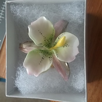 Orchid Brooch, Cara China Staffordshire, Made in England - Costume Jewelry