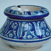 Pottery Ashtray with Beautiful Blue Design~Signed S.S. N.Y.~Any Guesses what that might mean?