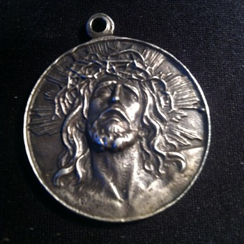 Jesus Coin- Virgin of Guadalupe Sterling Medallion pendant. - Silver