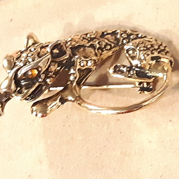Panther broach vintage amber eyes - Fine Jewelry
