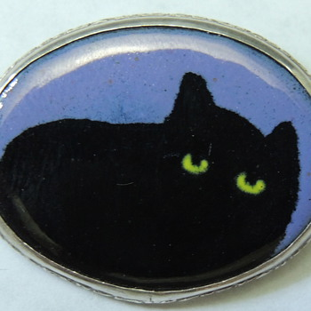 Sterling Silver Cat Pin - 925 & Enamel - Fine Jewelry