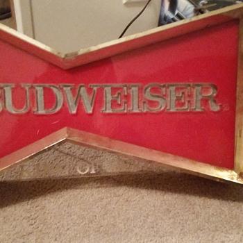 Vintage Budweiser bow-tie window sign